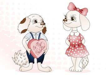 Pink Valentine's day dog  themed card, a boy dog seeks attention of a girl dog wearing polka-dot dress, half tone heart tiled background, be my valentine postcard