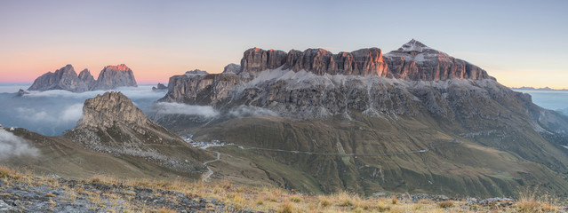 Panorama of Sass Beca Sassolungo and Piz Boa at dawn from Cima Belvedere, Canazei, Val di Fassa, Trentino-Alto Adige, Italy, Europe