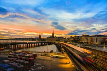 Wall Mural - Cityscape of Stockholm city during sunset, Sweden.