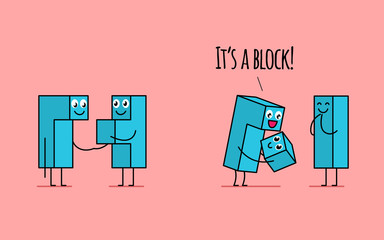 Kawaii tetris blocks family. Male block holding its pregnant wife's hand on the first picture. On the second it holding newborn baby block and feels happy.