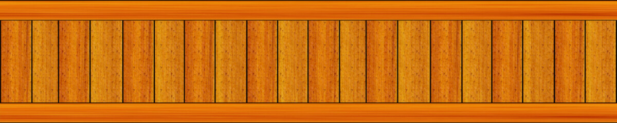 long panel panorama speckled with bright colors vertical boards are framed by horizontal