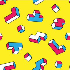 White, blue, red tetris 3d blocks seamless pattern on yellow background. Vintage 80s style design. Clipping mask used.