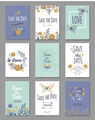 Vintage template colorful save date print layout design vector illustration.