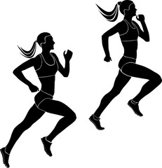 two women athletes runners running competition black silhouettes