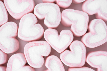 Candy hearts on a white background / heart represents love in Valentine's Day / wedding day.