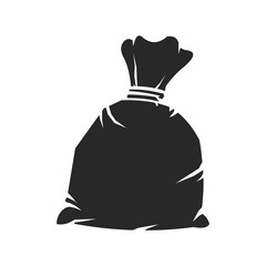 Black Sack Silhouette Icon.   A vector illustration of a tied up black plastic refuse sack.