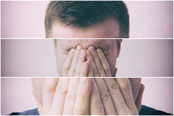 Young man covers his face with his hands in grief or pain