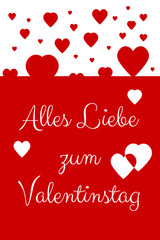German Happy Valentine's Day Card with red and white hearts floating