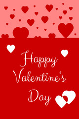 Happy Valentine's Day Card with red and white hearts floating