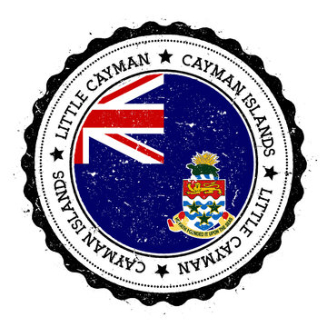 Little Cayman flag badge. Vintage travel stamp with circular text, stars and island flag inside it. Vector illustration.