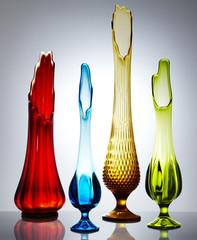 Colourful glass vases, studio shot