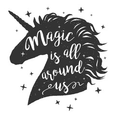 Vector silhouette of unicorns head with text. Inspirational design for print, banner, poster. Follow your dreams