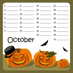 Birthday calendar for October