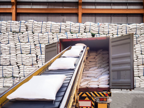 White bags of sugars from warehouse are staffing in container for export.