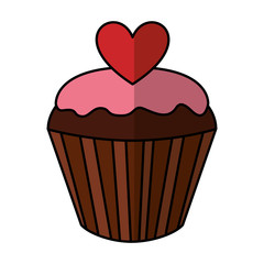 sweet cupcake with heart vector illustration design
