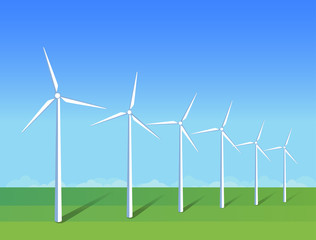 Electric windmills on green grass field on background blue sky. Ecology environmental illustration for presentations, websites, infographics. Flat vector art