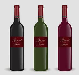 Realistic wine bottle set. Isolated on white background. 3d glass bottles mock-up. Vector illustration
