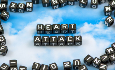 The word heart attack on the sky background