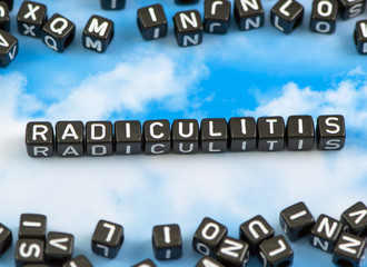 The word Radiculitis on the sky background