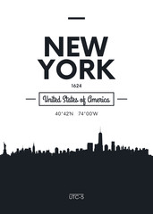 Poster city skyline New York, Flat style vector illustration