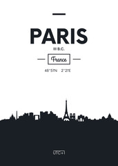 Poster city skyline Paris, Flat style vector illustration