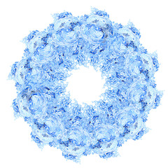 Round frame blue watercolor Doodle pattern on a white background