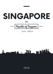 Poster city skyline Singapore, Flat style vector illustration