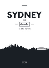 Poster city skyline Sydney, Flat style vector illustration