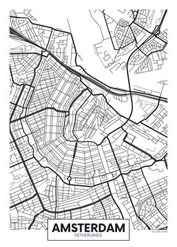 Vector poster map city Amsterdam
