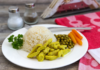 Rice with curry chicken