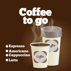 Poster with paper cup of coffee lettering coffee to go on brown background