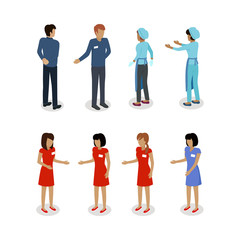 Set of Sellers Characters Vector Shop Assistans