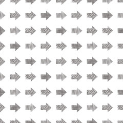 Seamless vector geometrical pattern with arrows. Grey endless background with hand drawn textured geometric figures. Graphic illustration Template for wrapping, web backgrounds, wallpaper