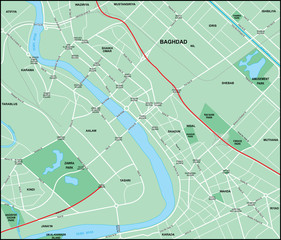 Baghdad Downtown Map with Streets