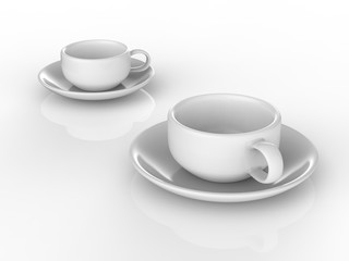 3D illustration two white cups and saucers