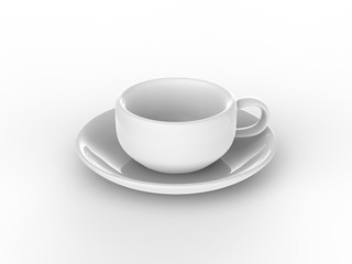 3D illustration white cup and saucer