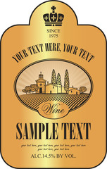 vector wine label with a picture of landscape village and the vineyard