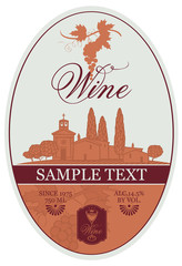 vector wine label with bunch of grapes and picture of landscape village and the vineyard