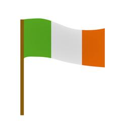 Flag of Ireland, icon flat style. St. Patrick's Day symbol. Isolated on white background. Vector illustration
