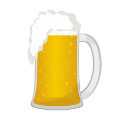 Beer in a glass mug, icon flat style. Isolated on white background. Vector illustration