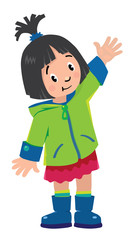 Funny little girl waving by hand