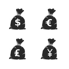 Money Sack Currency Icons.  Vector illustration icon set of various money bags with different currencies symbols.