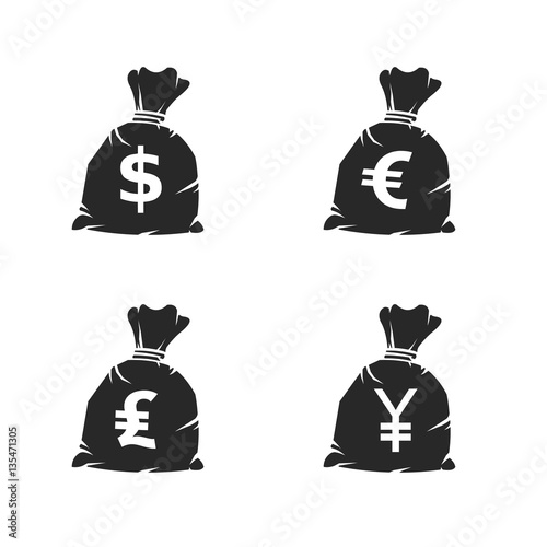 Money Sack Currency Icons Vector Illustration Icon Set Of Various