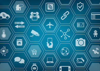 Internet of things IOT blue vector background with polygon shapes