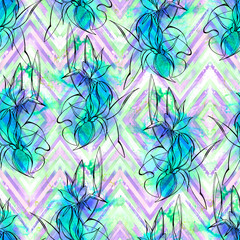 Seamless floral pattern. Hand drown irises on watercolor  horizontal chevron ornament in shades of turquoise blue and purple, woven effect, blended. Fabric texture. Textile design