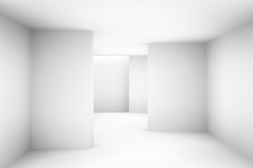 Abstract white simple empty room highlights future. Architectural background use us backdrop. 3D illustration and rendering room