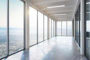 Empty concrete corridor