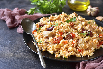 Jambalaya - spicy rice with meat and vegetables.