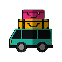 car vehicle travel with suitcases icon vector illustration design
