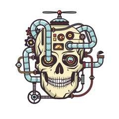 Steampunk Skull with built industrial elements - pipe, parts, cables, mechanisms, devices, aggregates. Vector illustration.